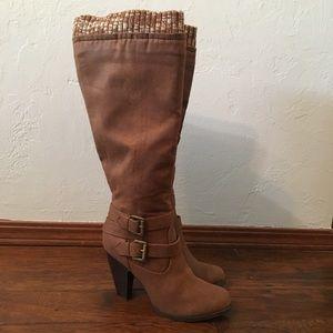 NWOT Brown Knee-high Heeled Boots.